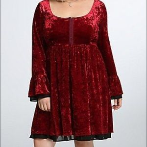 Torrid Red Crushed Velvet Dress